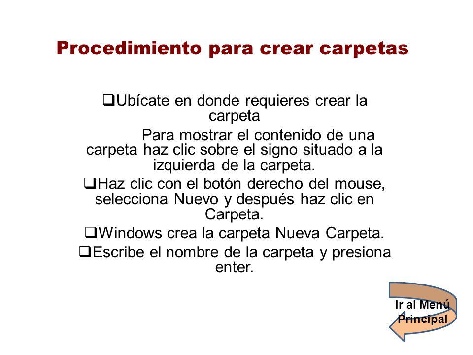 Procedimiento para crear carpetas