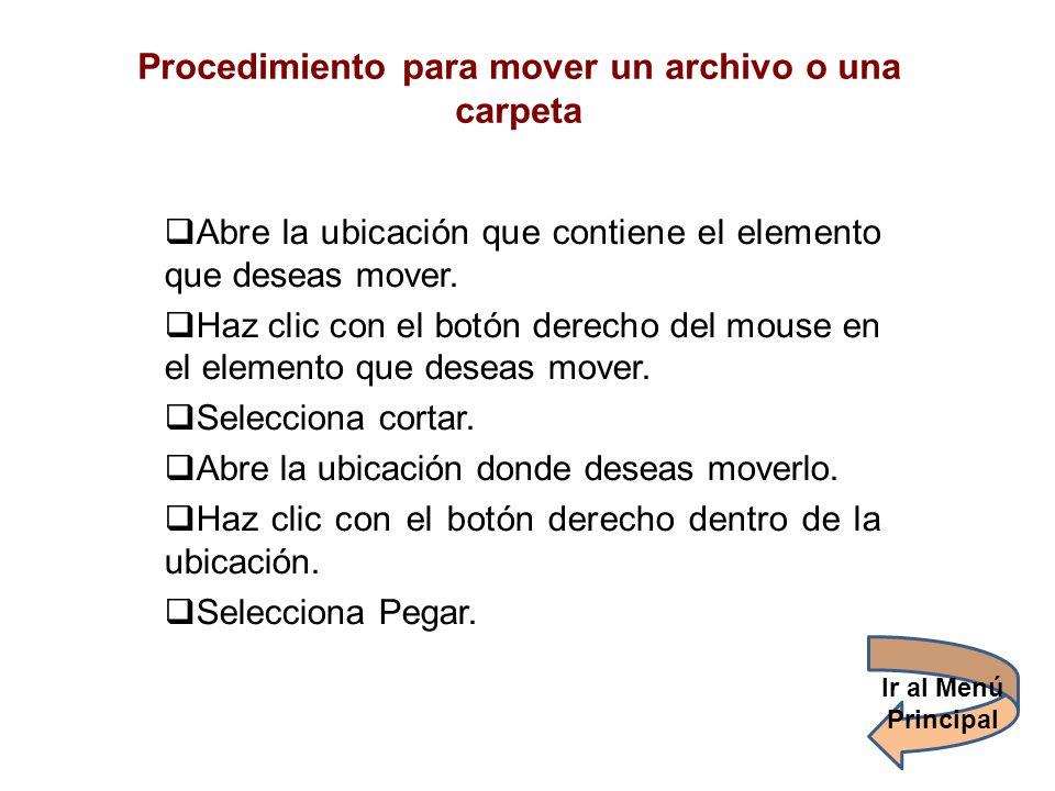 Procedimiento para mover un archivo o una carpeta