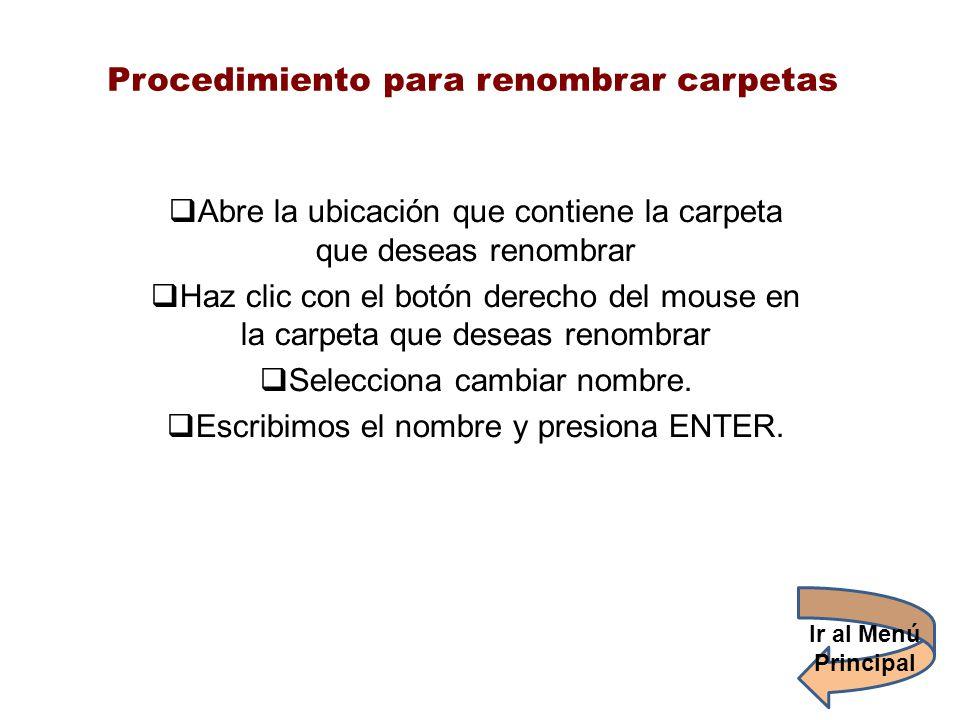 Procedimiento para renombrar carpetas