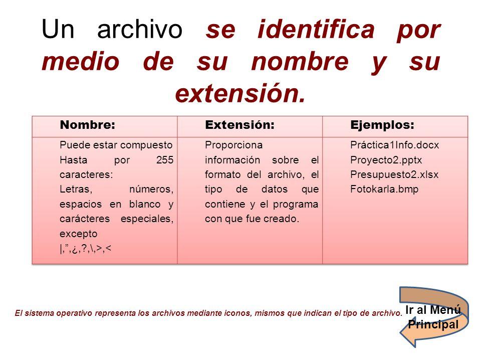 Un archivo se identifica por medio de su nombre y su extensión.