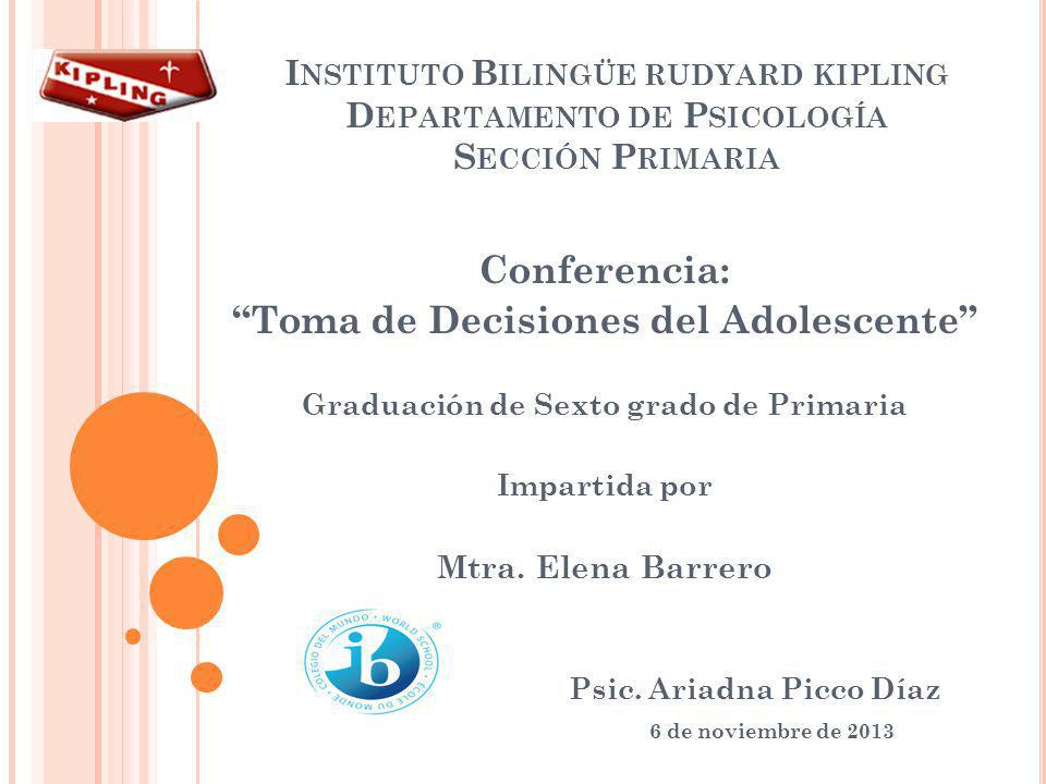 Conferencia: Toma de Decisiones del Adolescente