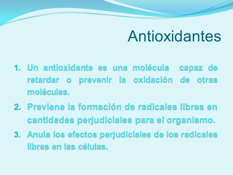 Antioxidantes Un antioxidante es una molécula capaz de retardar o prevenir la oxidación de otras moléculas.