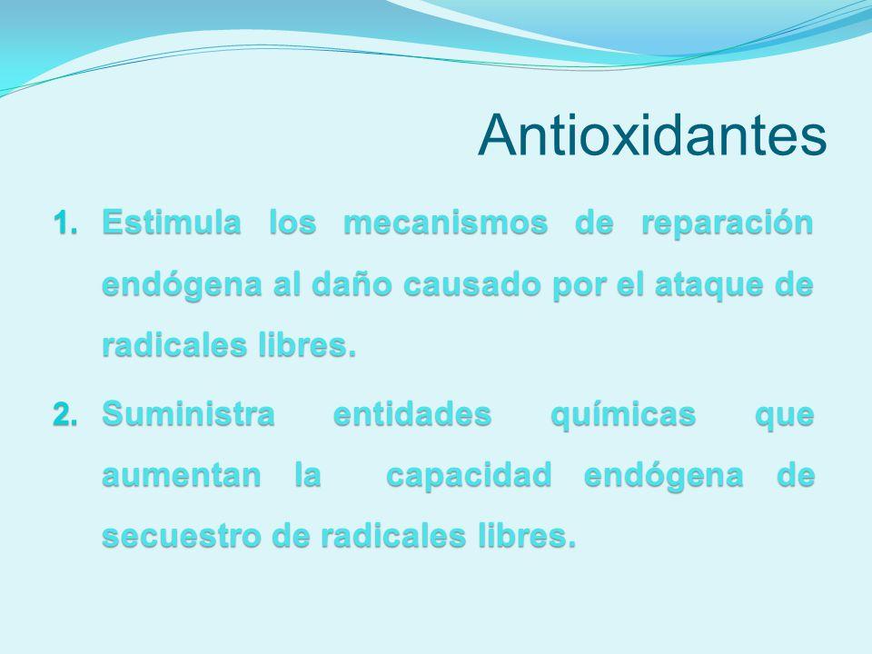Antioxidantes Estimula los mecanismos de reparación endógena al daño causado por el ataque de radicales libres.