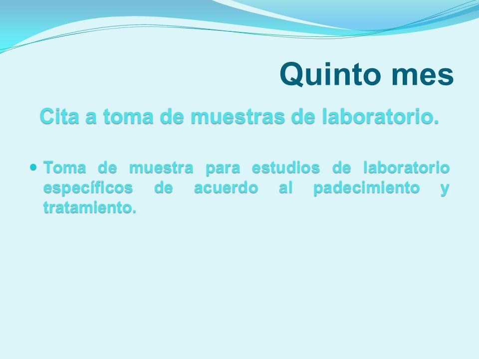 Cita a toma de muestras de laboratorio.