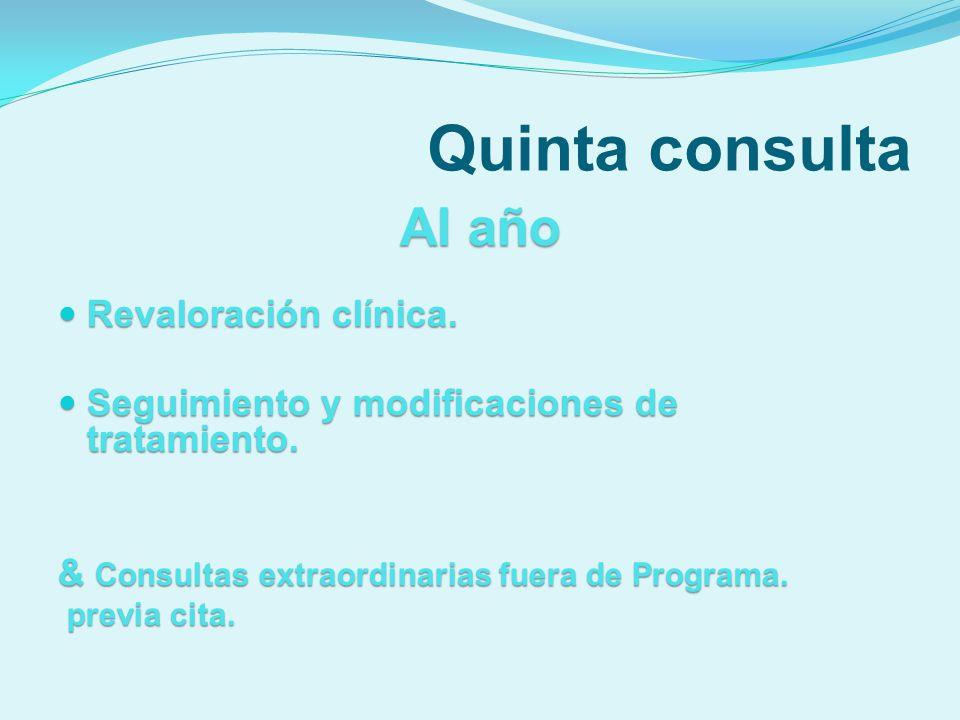 Quinta consulta Al año Revaloración clínica.