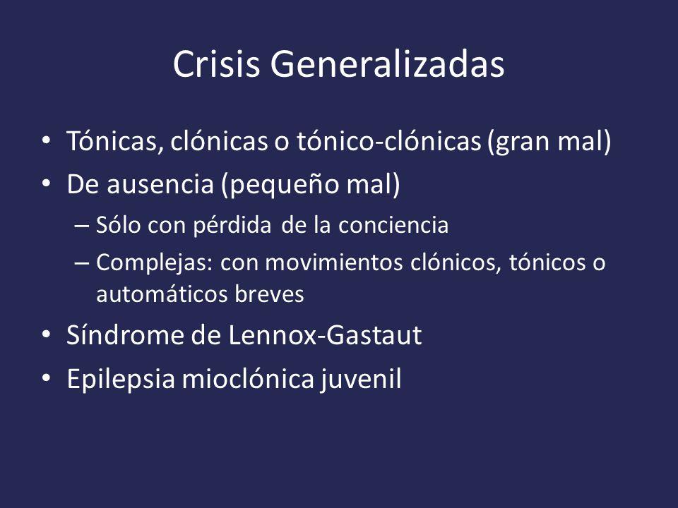 Crisis Generalizadas Tónicas, clónicas o tónico-clónicas (gran mal)