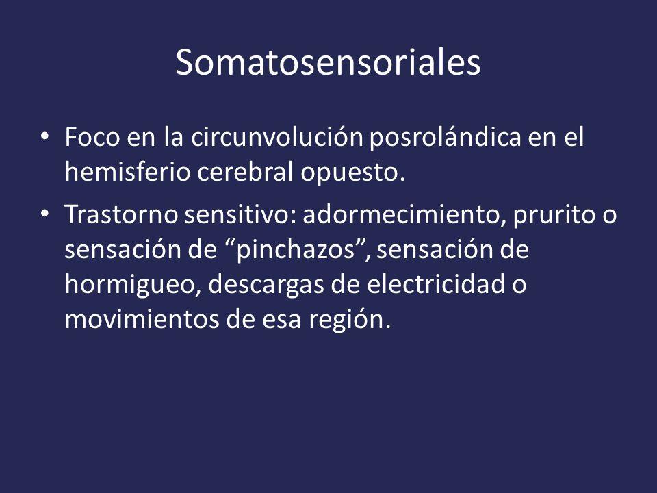 Somatosensoriales Foco en la circunvolución posrolándica en el hemisferio cerebral opuesto.