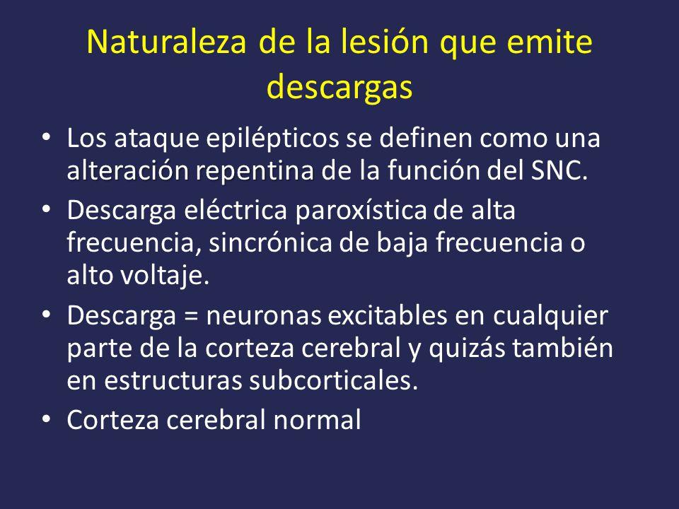 Naturaleza de la lesión que emite descargas