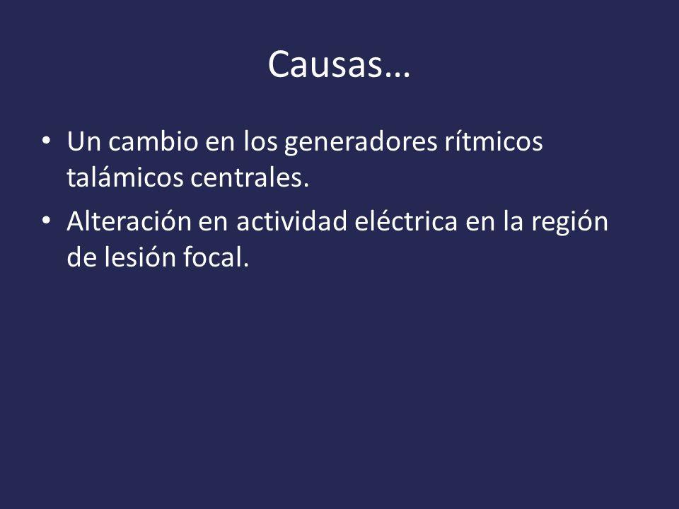 Causas… Un cambio en los generadores rítmicos talámicos centrales.