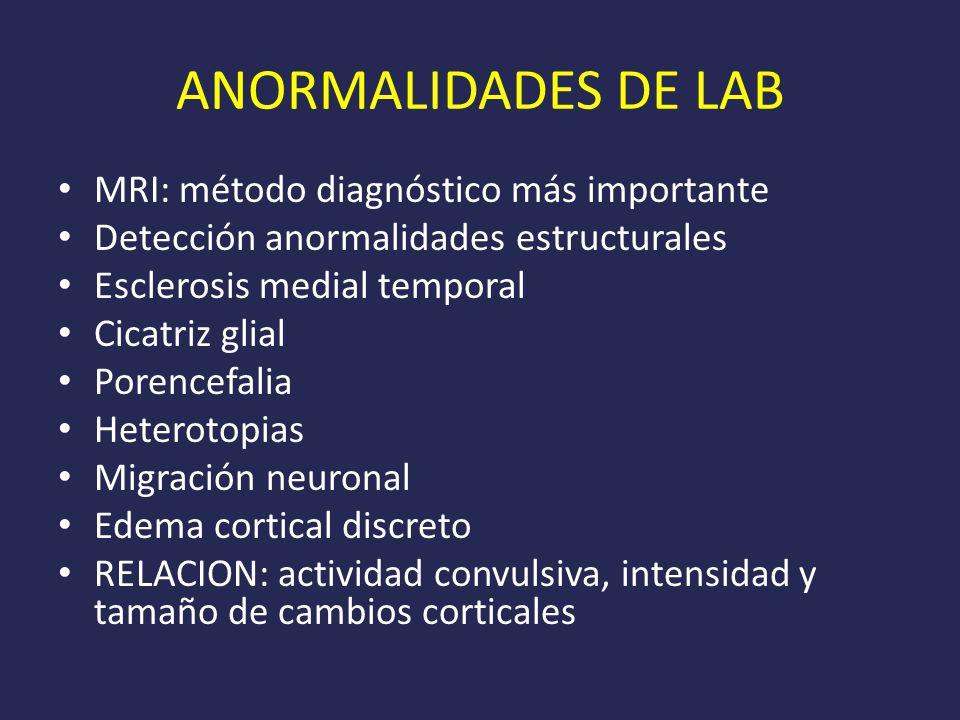 ANORMALIDADES DE LAB MRI: método diagnóstico más importante