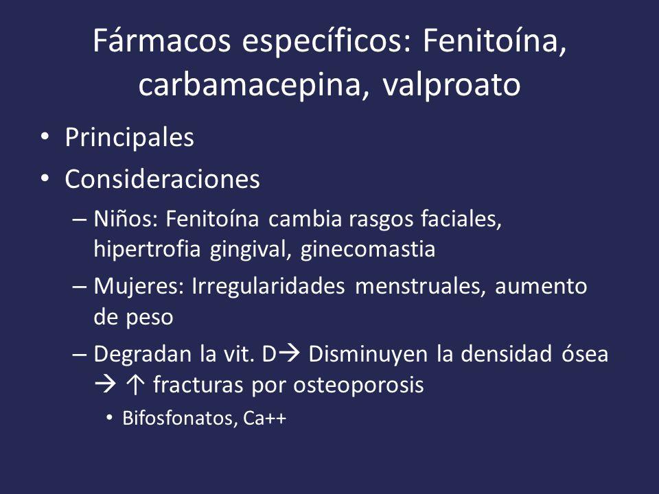 Fármacos específicos: Fenitoína, carbamacepina, valproato