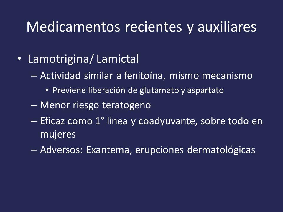 Medicamentos recientes y auxiliares