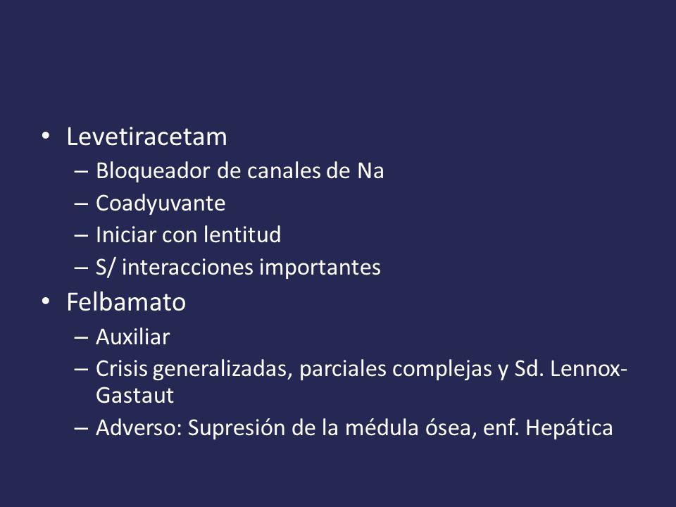Levetiracetam Felbamato Bloqueador de canales de Na Coadyuvante
