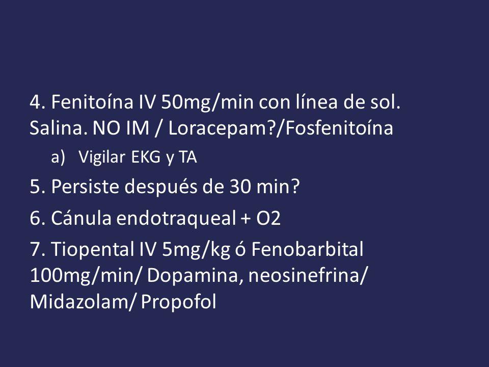 5. Persiste después de 30 min 6. Cánula endotraqueal + O2