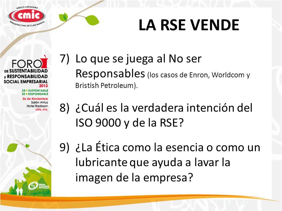 LA RSE VENDE Lo que se juega al No ser Responsables (los casos de Enron, Worldcom y Bristish Petroleum).