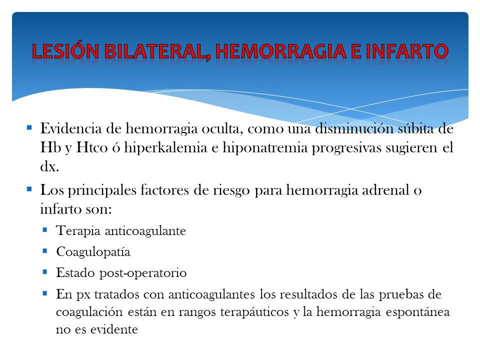 Lesión bilateral, hemorragia e infarto