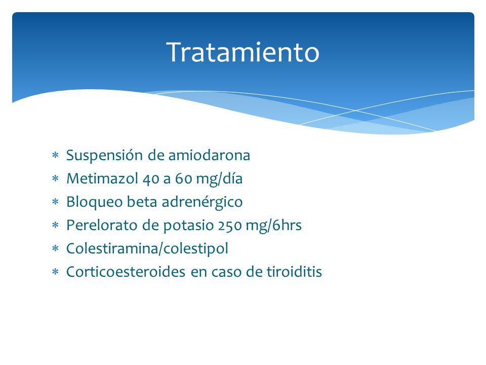 Tratamiento Suspensión de amiodarona Metimazol 40 a 60 mg/día