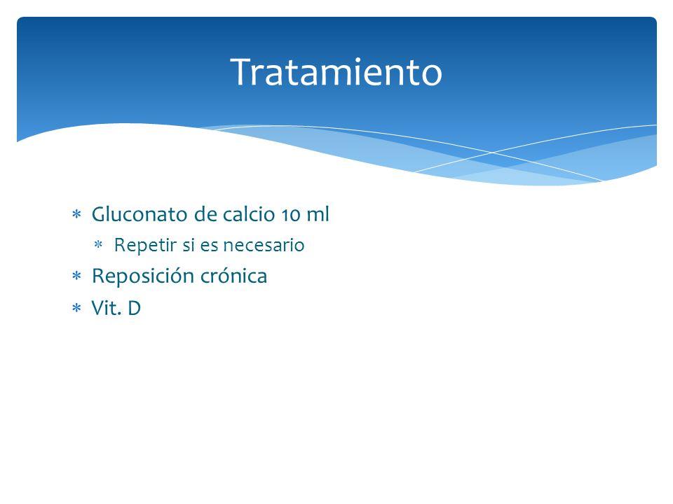 Tratamiento Gluconato de calcio 10 ml Reposición crónica Vit. D