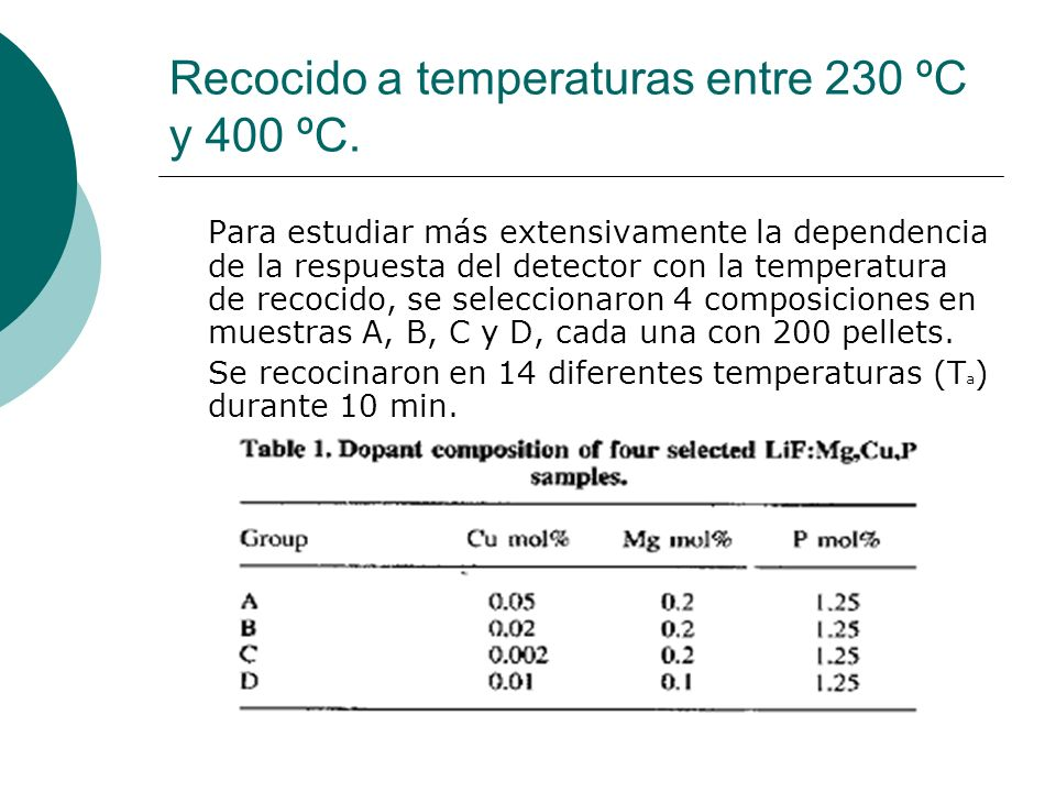 Recocido a temperaturas entre 230 ºC y 400 ºC.