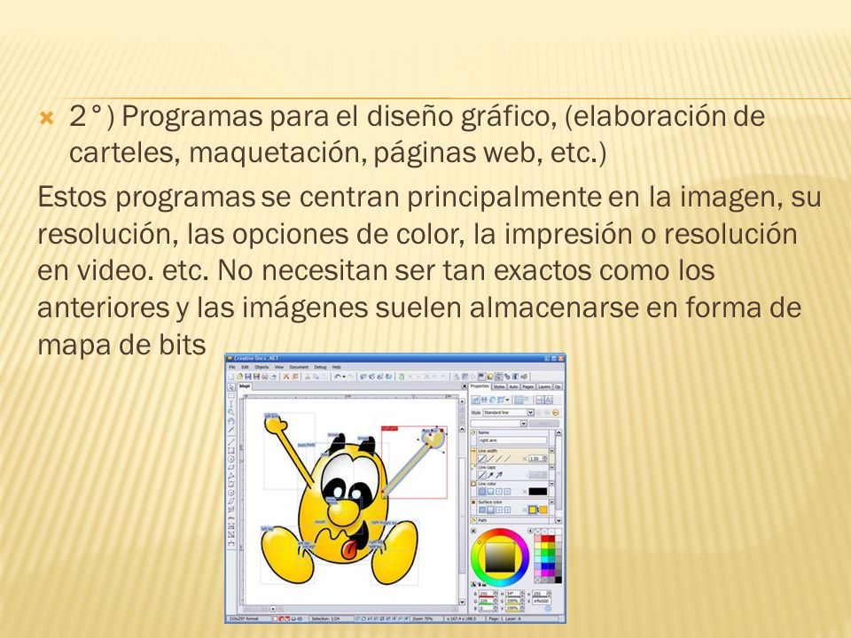 2°) Programas para el diseño gráfico, (elaboración de carteles, maquetación, páginas web, etc.)