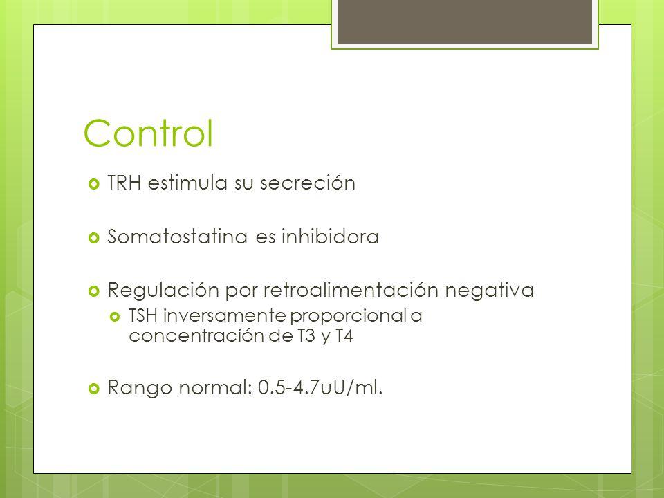 Control TRH estimula su secreción Somatostatina es inhibidora