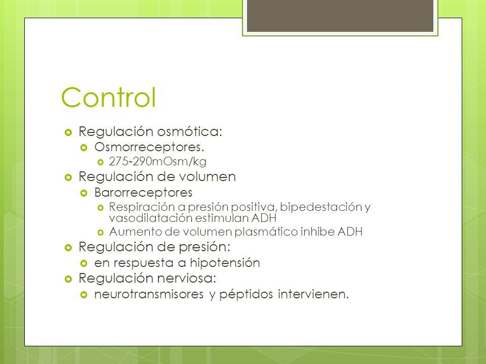 Control Regulación osmótica: Regulación de volumen