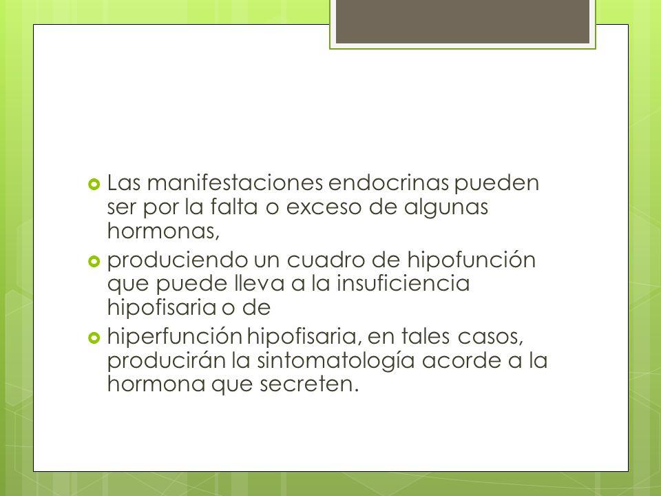 Las manifestaciones endocrinas pueden ser por la falta o exceso de algunas hormonas,