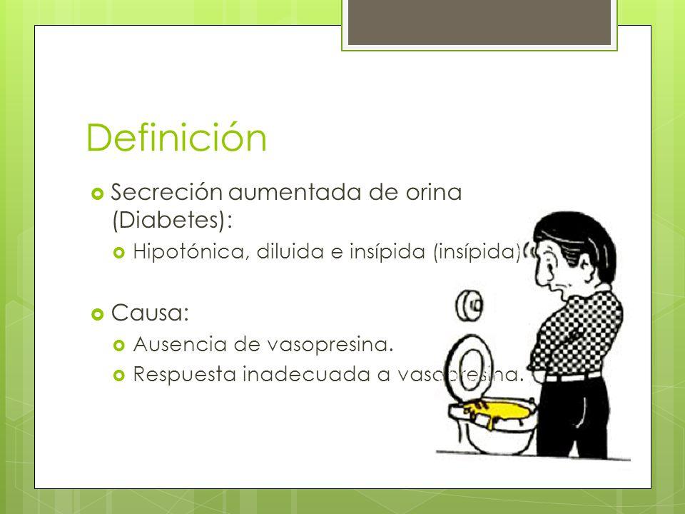 Definición Secreción aumentada de orina (Diabetes): Causa: