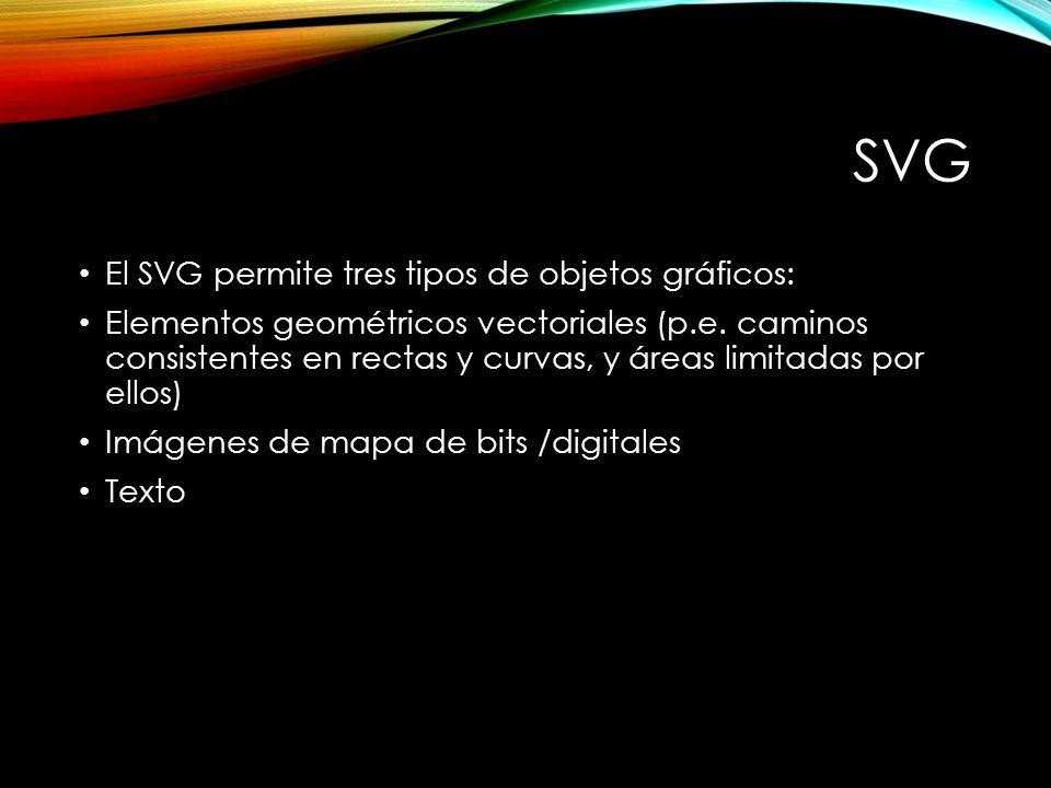 SVG El SVG permite tres tipos de objetos gráficos: