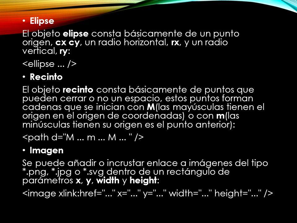 Elipse El objeto elipse consta básicamente de un punto origen, cx cy, un radio horizontal, rx, y un radio vertical, ry: