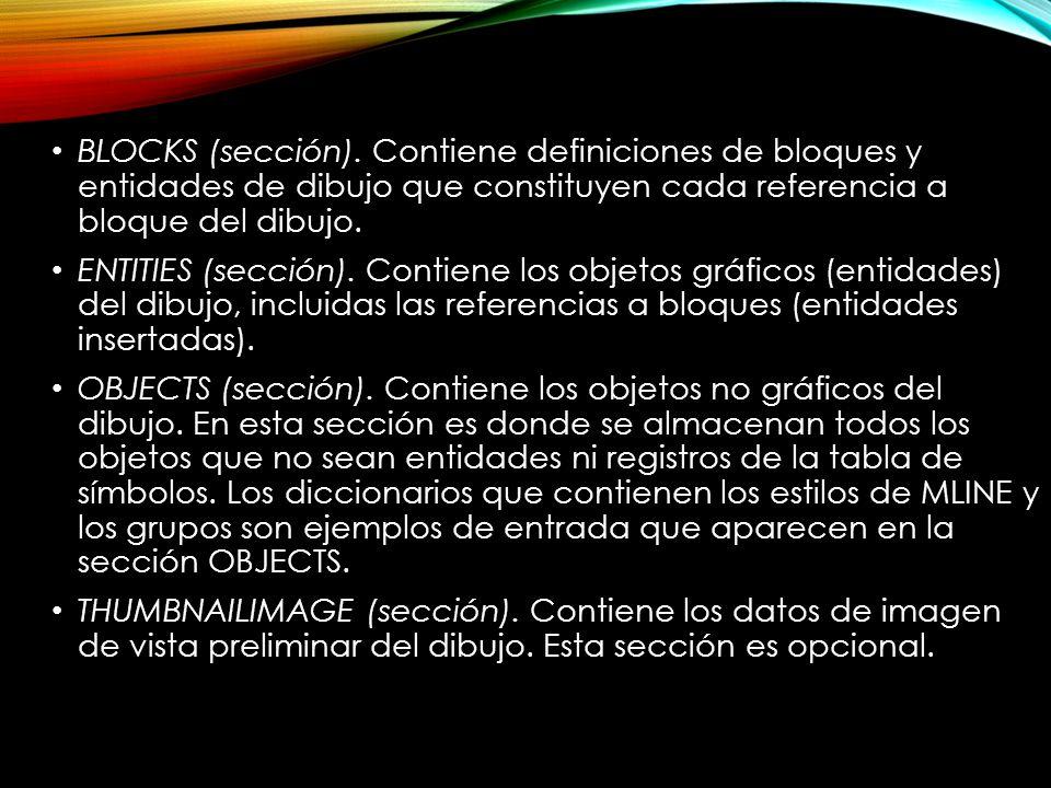 BLOCKS (sección). Contiene definiciones de bloques y entidades de dibujo que constituyen cada referencia a bloque del dibujo.
