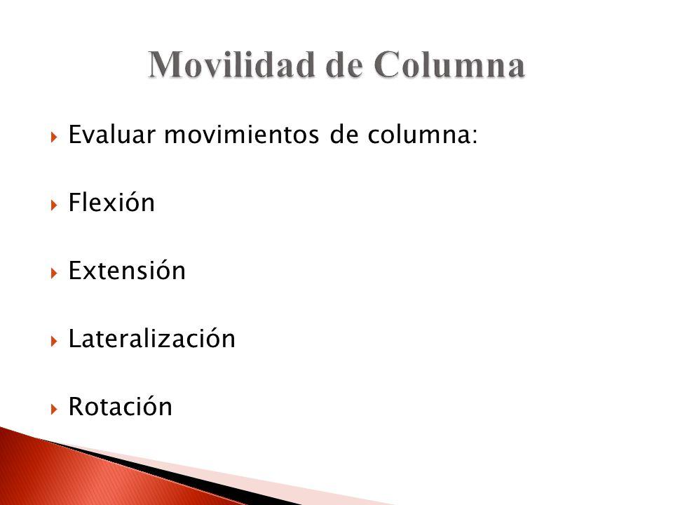 Movilidad de Columna Evaluar movimientos de columna: Flexión Extensión