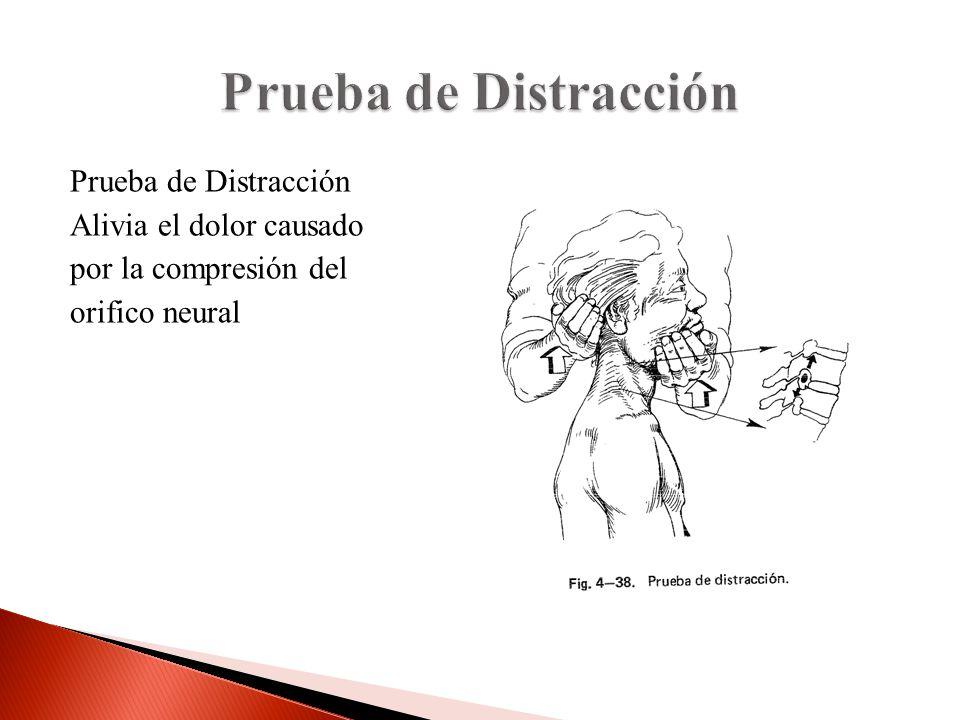 Prueba de Distracción Prueba de Distracción Alivia el dolor causado por la compresión del orifico neural