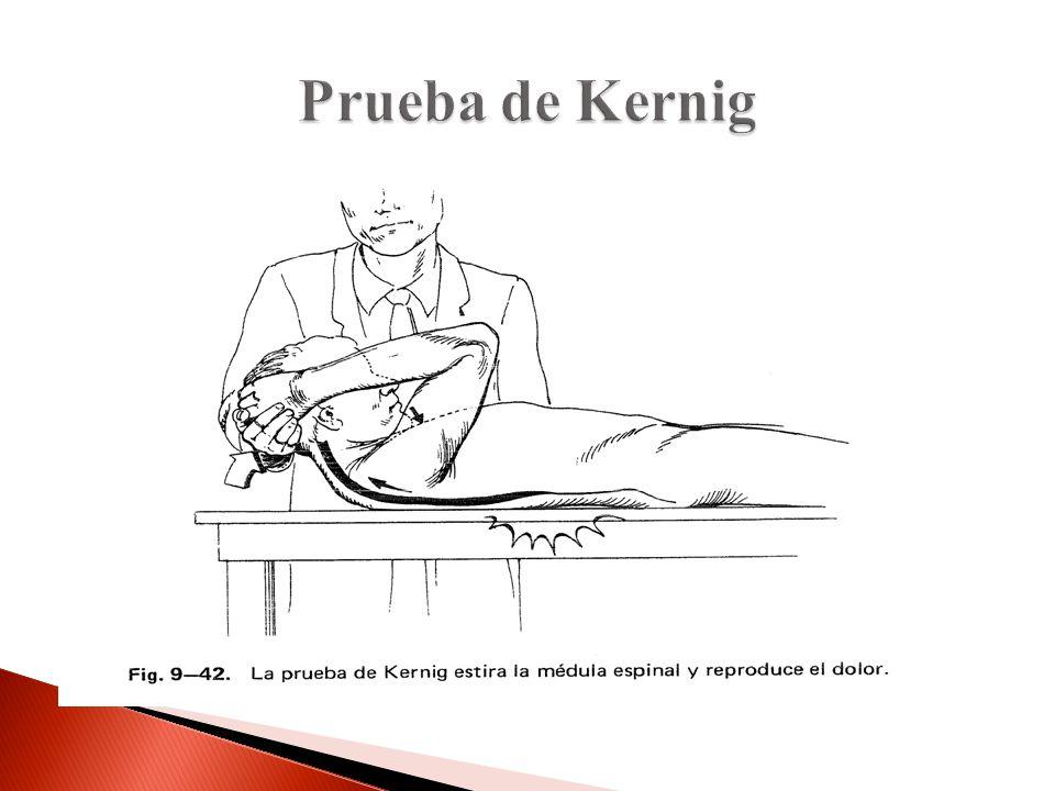 Prueba de Kernig Kernig para ver compresión radicular igual que la C pero se tracciona la médula para arriba y no para abajo.
