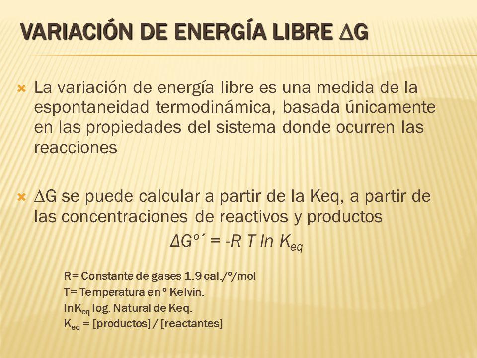 Variación de Energía Libre DG