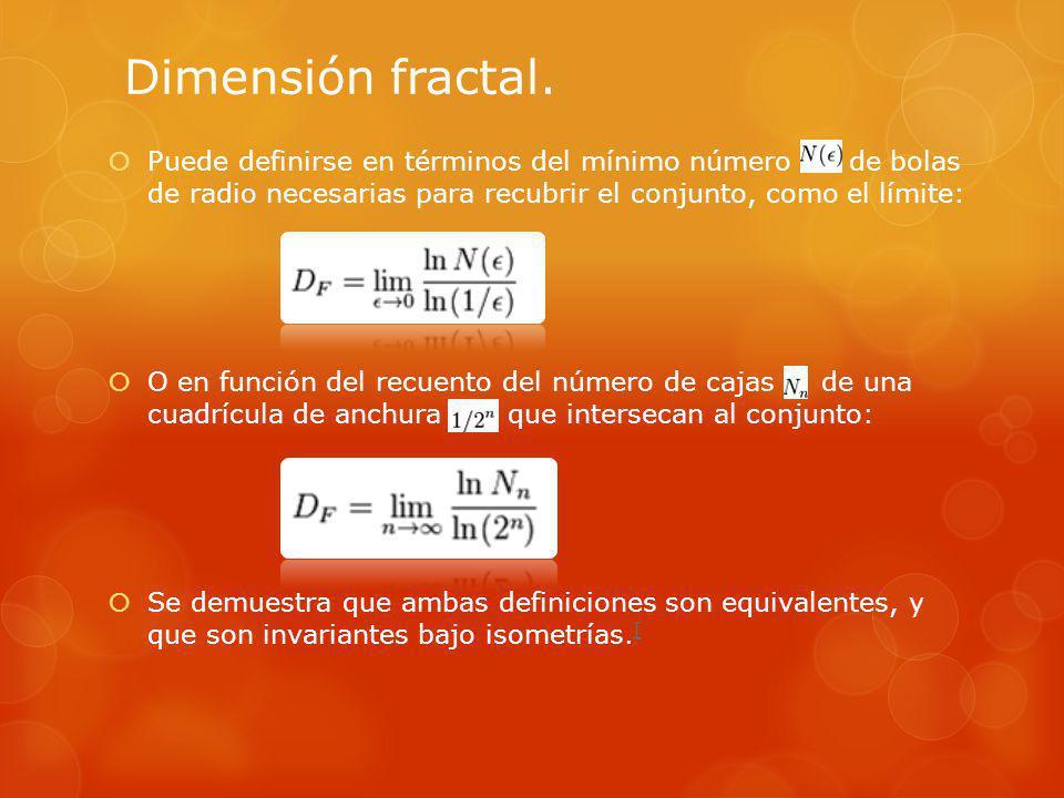 Dimensión fractal. Puede definirse en términos del mínimo número de bolas de radio necesarias para recubrir el conjunto, como el límite: