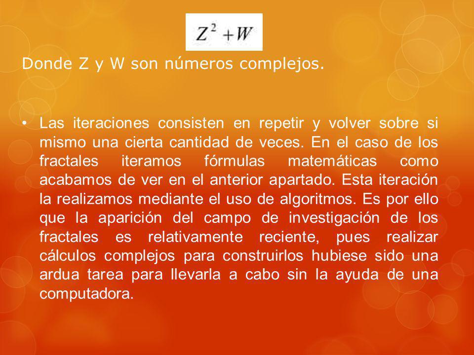 Donde Z y W son números complejos.