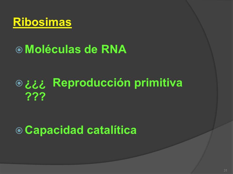 Ribosimas Moléculas de RNA ¿¿¿ Reproducción primitiva Capacidad catalítica