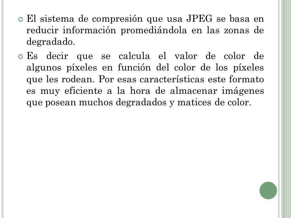 El sistema de compresión que usa JPEG se basa en reducir información promediándola en las zonas de degradado.