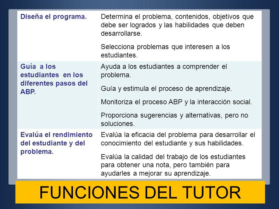 FUNCIONES DEL TUTOR Diseña el programa.