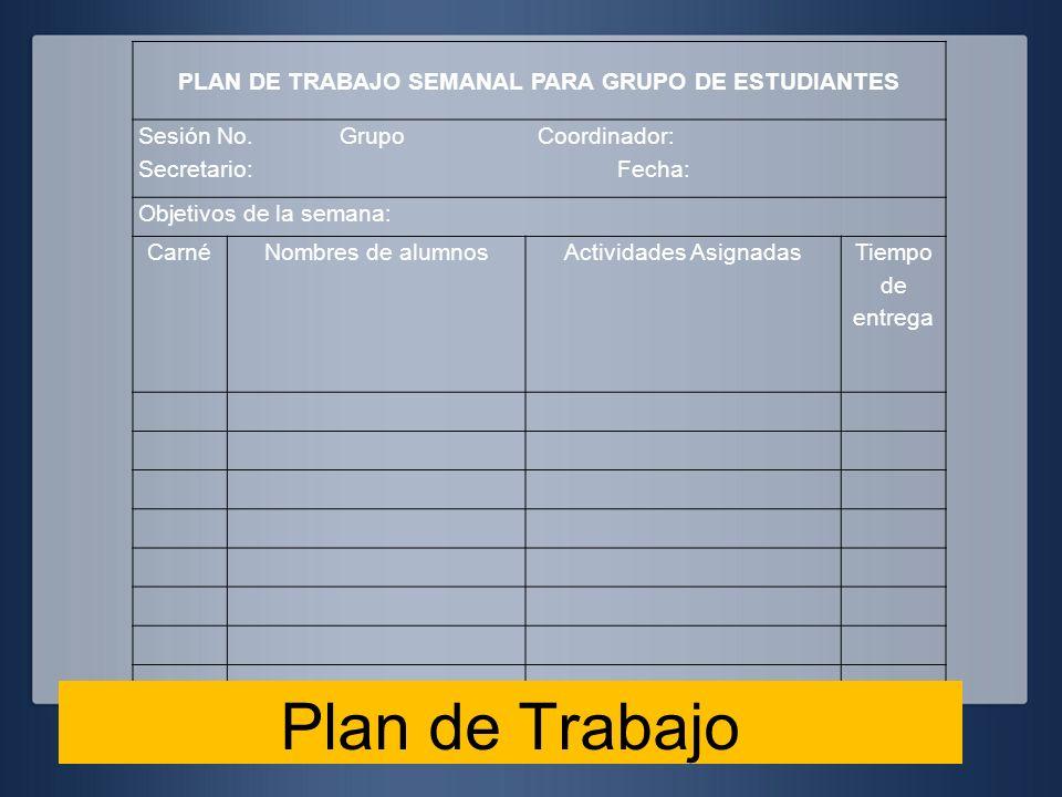 PLAN DE TRABAJO SEMANAL PARA GRUPO DE ESTUDIANTES