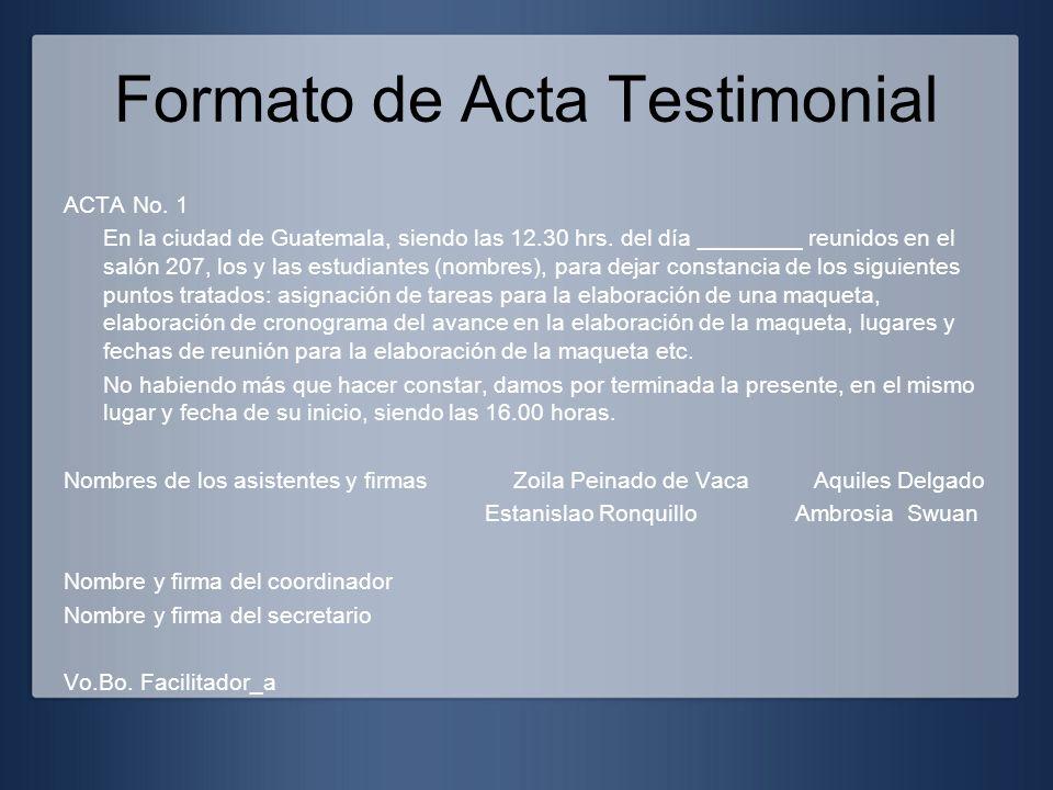 Formato de Acta Testimonial