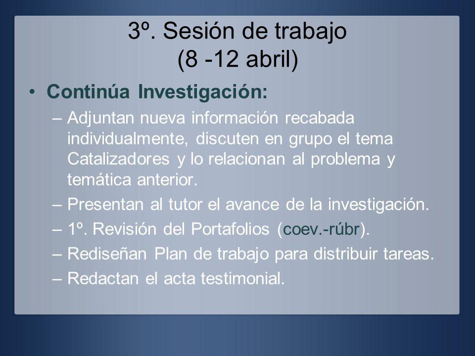 3º. Sesión de trabajo (8 -12 abril)