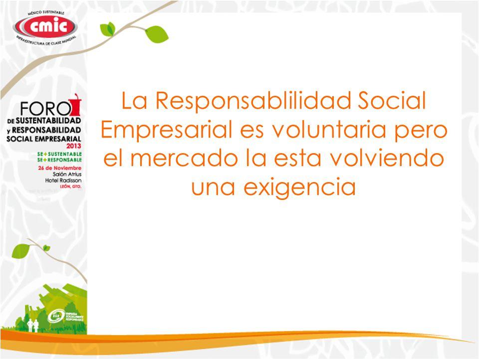 La Responsablilidad Social Empresarial es voluntaria pero el mercado la esta volviendo una exigencia