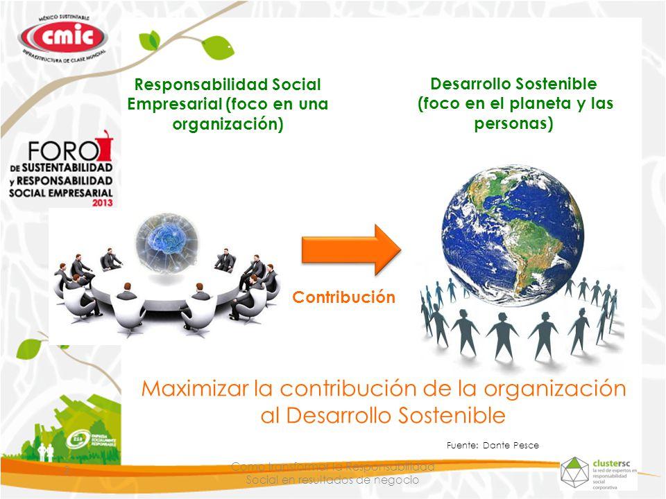 Maximizar la contribución de la organización al Desarrollo Sostenible
