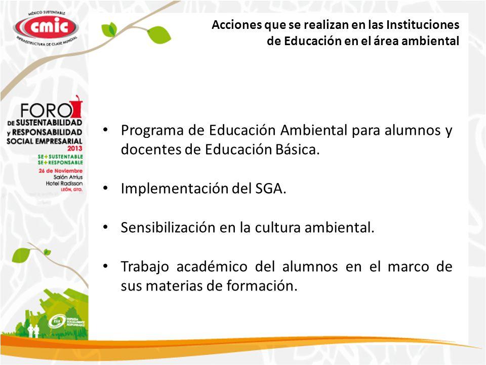 Implementación del SGA. Sensibilización en la cultura ambiental.