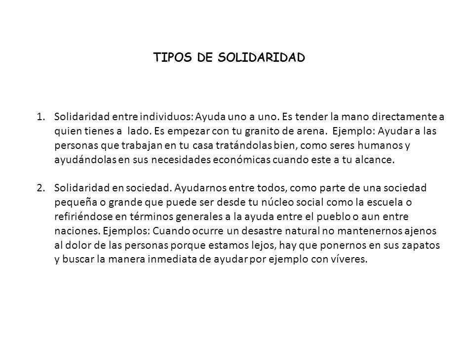 TIPOS DE SOLIDARIDAD
