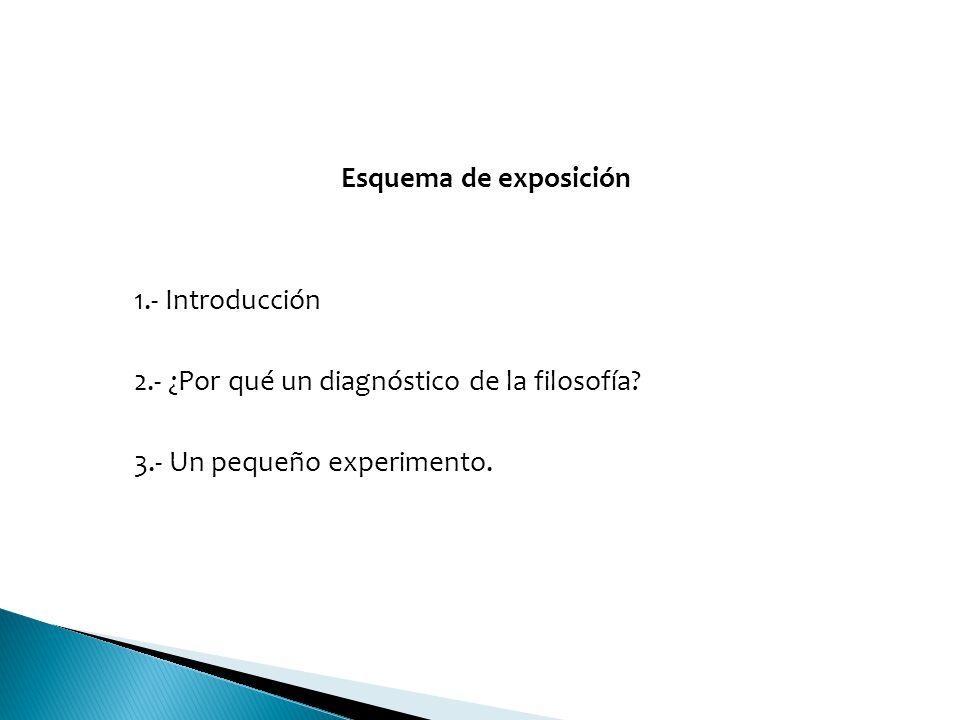 Esquema de exposición 1.- Introducción. 2.- ¿Por qué un diagnóstico de la filosofía.