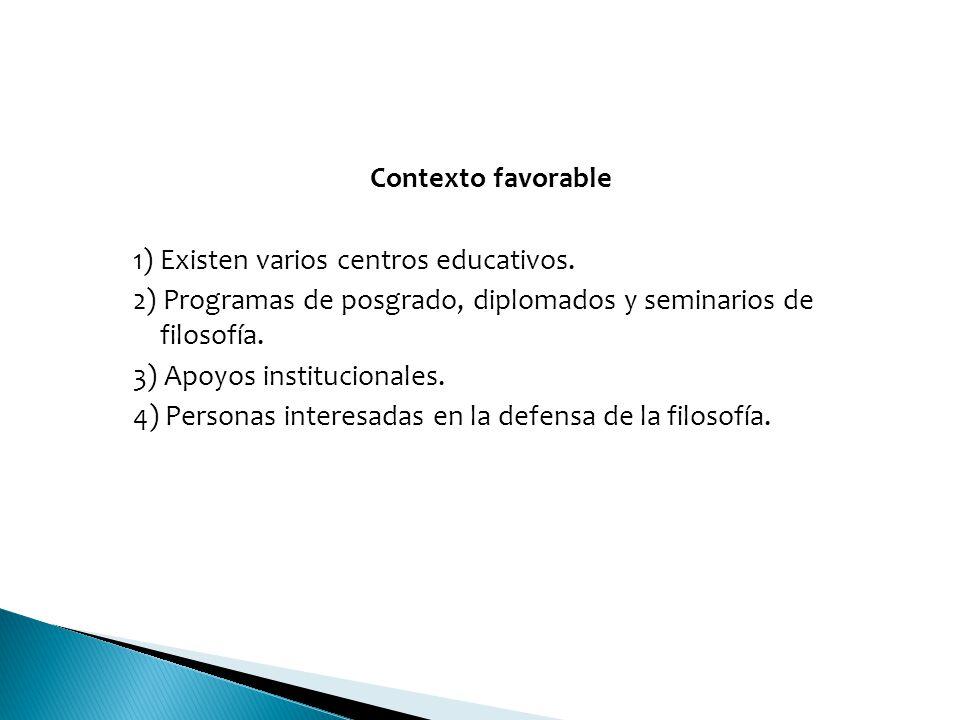 Contexto favorable 1) Existen varios centros educativos. 2) Programas de posgrado, diplomados y seminarios de filosofía.