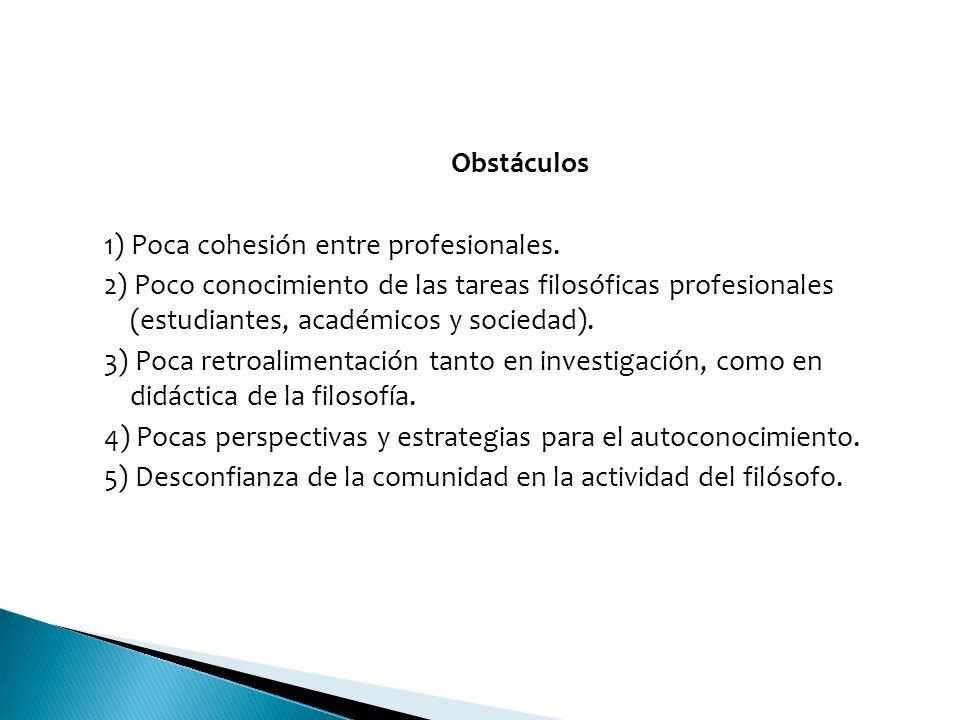 Obstáculos 1) Poca cohesión entre profesionales. 2) Poco conocimiento de las tareas filosóficas profesionales (estudiantes, académicos y sociedad).